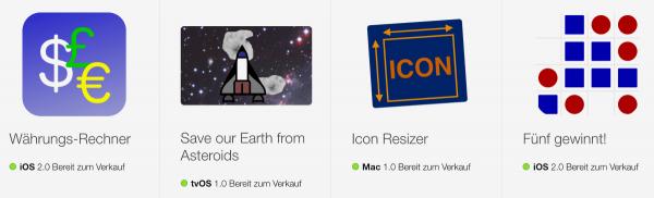 Vier Beispielprogramme zum Buch sind kostenlos im App Store verfügbar