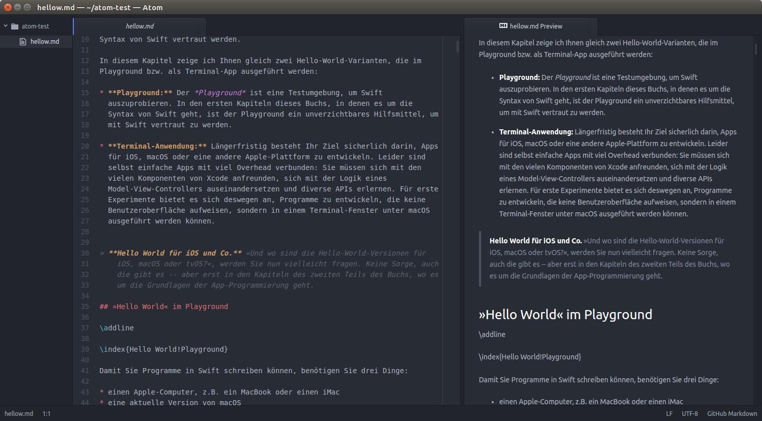 Atom als Markdown/Pandoc-Editor | kofler info