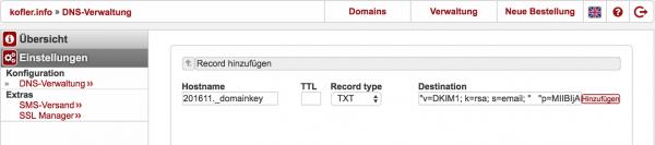Ein neuer DNS-Eintrag vom Typ »TXT« enthält den öffentlichen Teil des DKIM-Schlüssels
