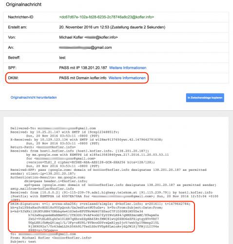 Gmail hat die DKIM-Signatur erfolgreich überprüft