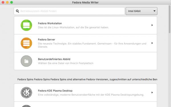 Der »Fedora Media Writer« lädt das Installations-Image herunter und überträgt es auf einen USB-Stick.