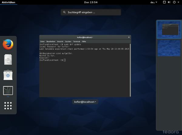 Die vielen Änderungen in Fedora 22 sind auf dem Desktop kaum zu spüren