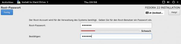 Merkwürdige Button-Anordnung in Anaconda, dem Installationsprogramm von Fedora