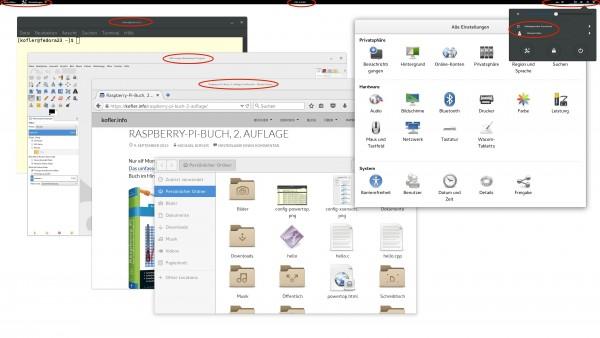 An vielen Stellen werden Schriften zu klein dargestellt. (Der Screenshot wurde mit einer Beta von Fedora 23 + Gnome 3.18 erstellt, Fensterskalierung = 2)