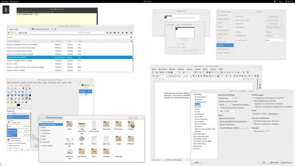 Passable Darstellung der meisten GUI-Elemente mit einer Schriftskalierung von 1,4 (Der Screenshot wurde mit einer Beta von Fedora 23 + Gnome 3.18 erstellt, Schriftskalierung = 1,4)