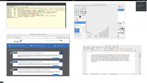 Jetzt unter Wayland, abermals mit Gnome-Schriftskalierung von 1,4 (Der Screenshot wurde mit einer Beta von Fedora 23 + Gnome 3.18 erstellt, Schriftskalierung = 1,4)