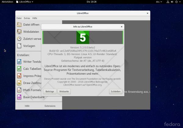 Diese Beta-Version von LibreOffice 5.2 wurde als Flatpak installiert
