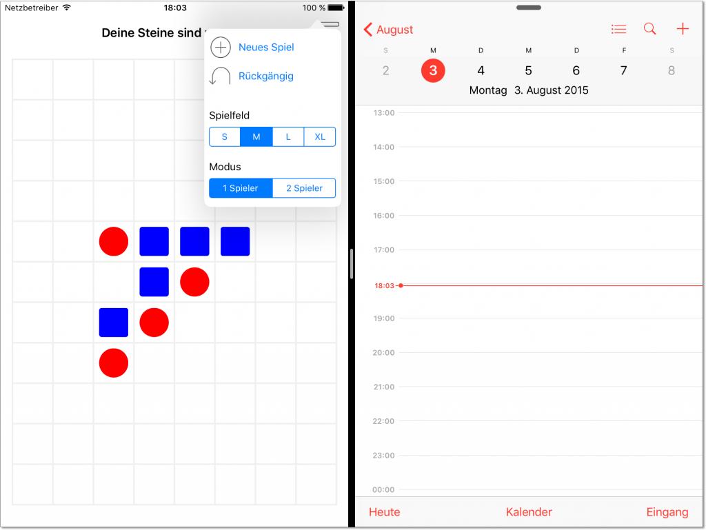 Die App »5 Gewinnt« funktioniert auch im Multi-Tasking-Modus von iOS 9