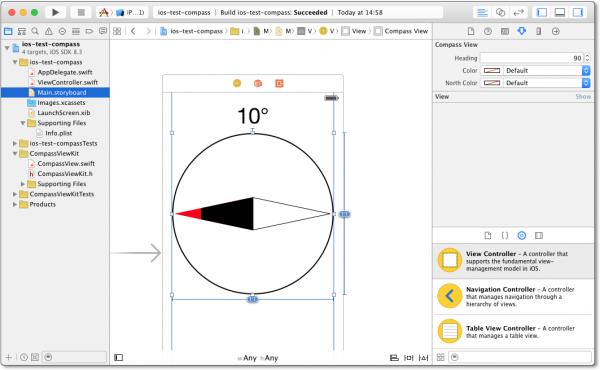 Das selbstprogrammierte Kompass-Steuerelement mit Live-Vorschau in Xcode