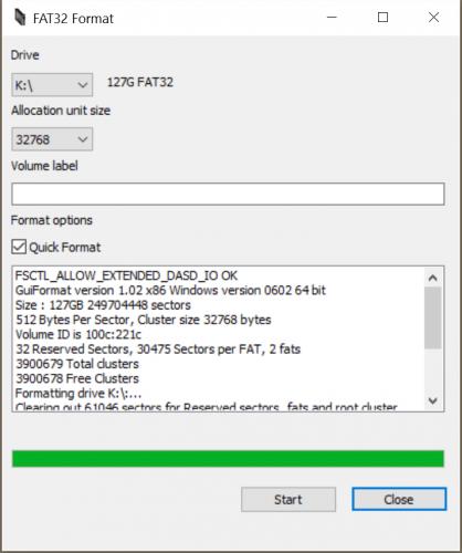 FAT32-Formatierung auch für große SD-Karten