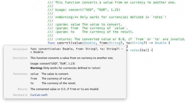 Die Box zeigt Kontextinformationen zu einer Methode, die mit Markdown-Kommentaren dokumentiert ist.