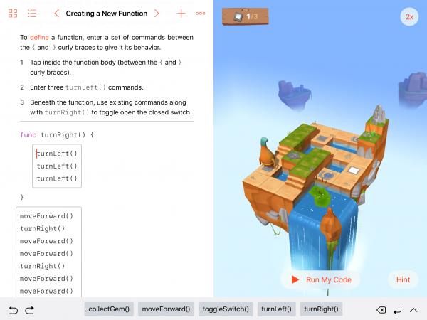 Durch die Definition einer eigenen Funktion und den Aufruf diverser  Methoden soll die Spielfigur »Byte« zum Ziel gesteuert werden.