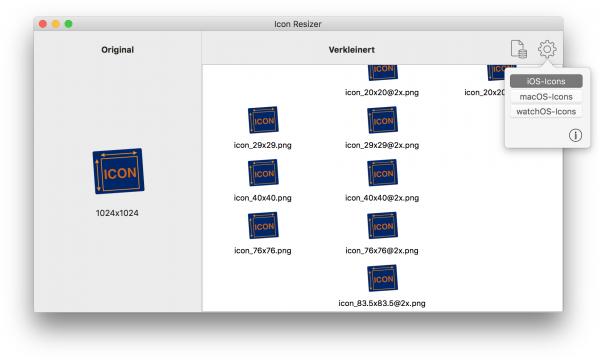 Der Icon-Resizer erzeugt skalierte PNG-Bitmaps für alle in Xcode erforderlichen Icon-Größen