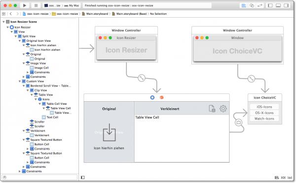 Storyboard des Icon-Resizers (ein OS-X-Programm, um Icons in verschiedenen Größen zu generieren)