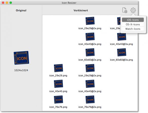 Icon-Resizer (ein OS-X-Programm, um Icons in verschiedenen Größen zu generieren)