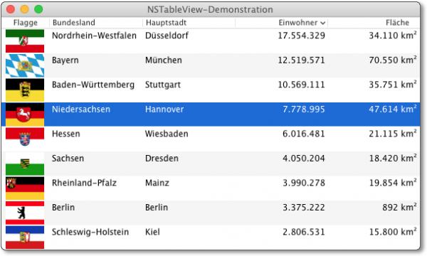 Beispielprogramm zur Verwendung des NSTableView-Steuerelements