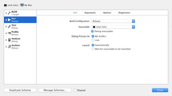 XCode-Einstellungen, um ein Release-Kompilat durchzuführen