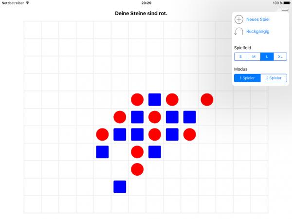 Das Spiel »Fünf gewinnt!« (hier auf einem iPad)
