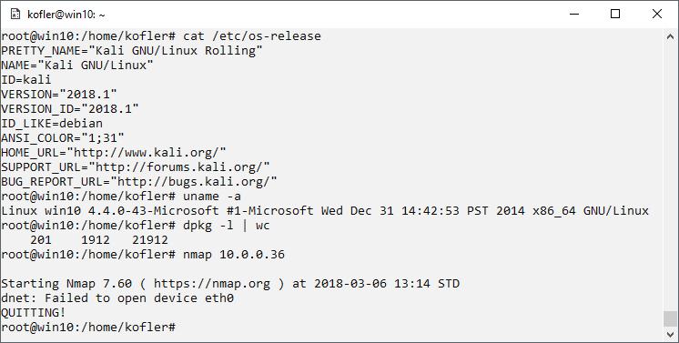 Kali Linux im Windows Subsystem for Linux | kofler info