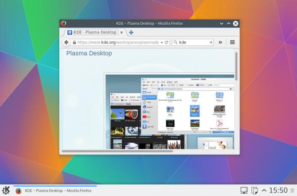 Der Default-Desktop von Kubuntu 15.04