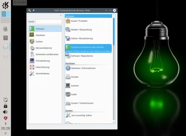 Der vom Autor leicht adaptierte KDE-Desktop von openSUSE Leap mit dem YaST-Kontrollzentrum