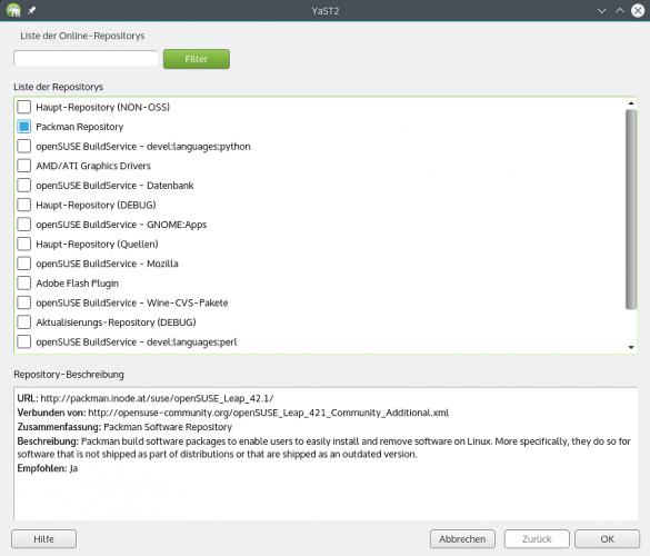 Auswahl der Community-Paketquellen im YaST-Modul 'Software Repositories'
