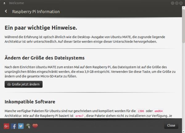 Das Welcome-Programm hilft dabei, das Dateisystem an die Größe der SD-Karte anzupassen.