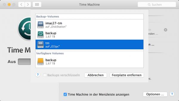 Backup-Volume in den OS-X-Systemeinstellungen auswählen