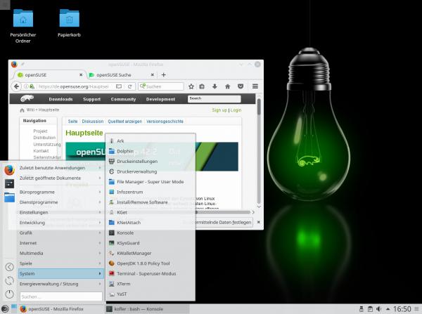 Das Erscheinungsbild von openSUSE wird durch KDE und einen originellen Hintergrund geprägt.