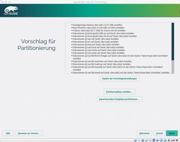 openSUSE Leap verwendet standardmäßig ein btrfs-Dateisystem mit unzähligen Subvolumes