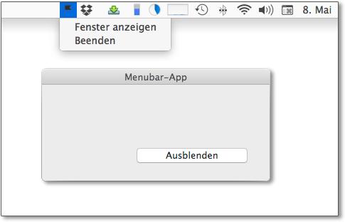 Eine Menubar-App, also ein OS-X-Programm, das über ein Icon im rechten Bereich der Menüleiste bedient wird