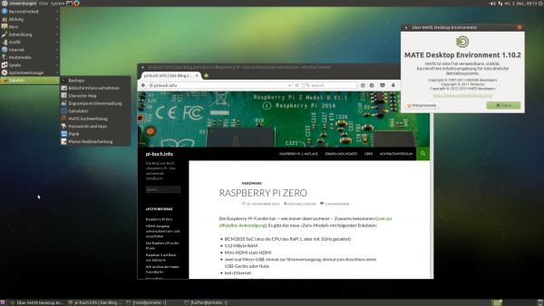 Der MATE-Desktop von Ubuntu MATE 15.10 auf einem Raspberry Pi 2