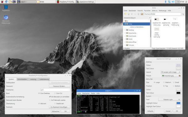 Der neue PIXEL-Desktop mit einer eindrucksvollen Bergaufnahme als Hintergrund.