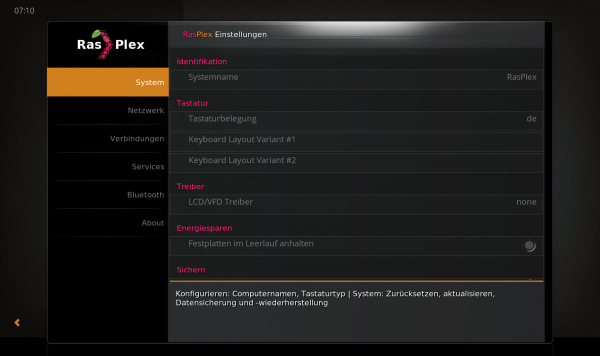 Konfiguration mit den RasPlex Settings