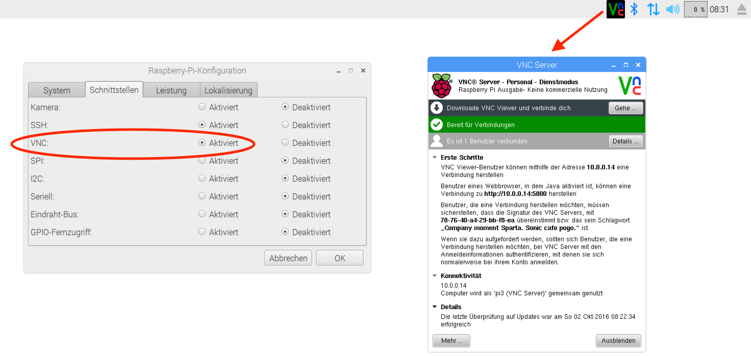Raspberry Pi: PIXEL-Desktop und RealVNC-Server   kofler info