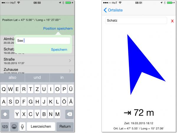 Eine simple »Schatzsuche« als Beispiel für die Verwendung von GPS-Funktionen