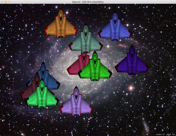 Eine Schleife erzeugt 10 zufällig platzierte Raumschiffe in zufälligen Farben