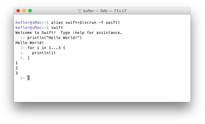 Swift-Anweisungen im REPL-Modus in einem Terminal ausführen