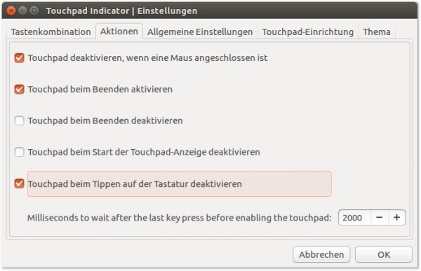 Der Touchpad Indicator deaktiviert das Touchpad automatisch, sobald eine Maus angeschlossen ist