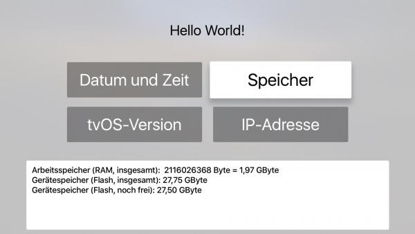 Screenshot der Hello-World-App