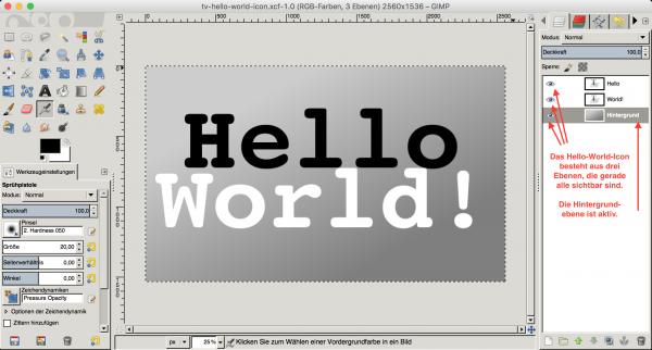 Gimp eignet sich wunderbar dazu, ein Icon aus mehreren Ebenen zusammenzusetzen.