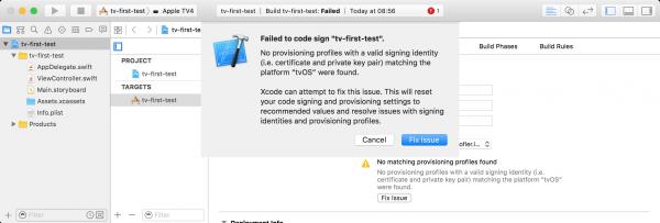 Der erste Versuch, ein tvOS-App zu starten, führt zu einer Fehlermeldung