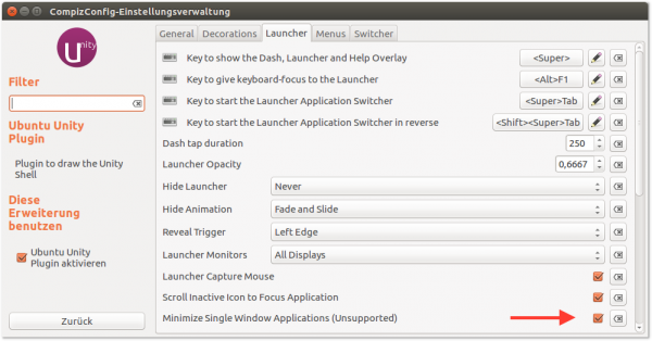 Ein Klick auf das Programm-Icon im Dock minimiert das entsprechende Fenster