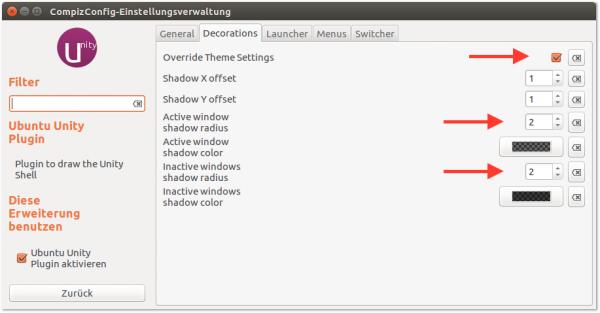 Im Compiz Config Settings Manager können Sie die Fensterschatten minimieren