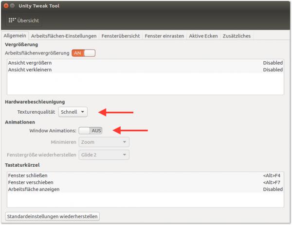 Zwei Optionen im Unity Tweak Tool vergrößern die  Darstellungsgeschwindigkeit  auf dem Desktop merklich.