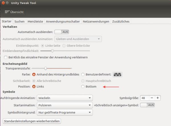 Mit dem Unity Tweak Tool können Sie die Dock-Position per Mausklick einstellen