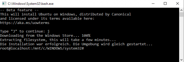 Download von »Ubuntu on Windows, distributed by Canonical«