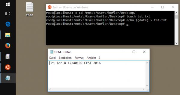 Es ist möglich, in der bash eine Datei zu erzeugen, die auf dem Windows-Desktop sichtbar ist