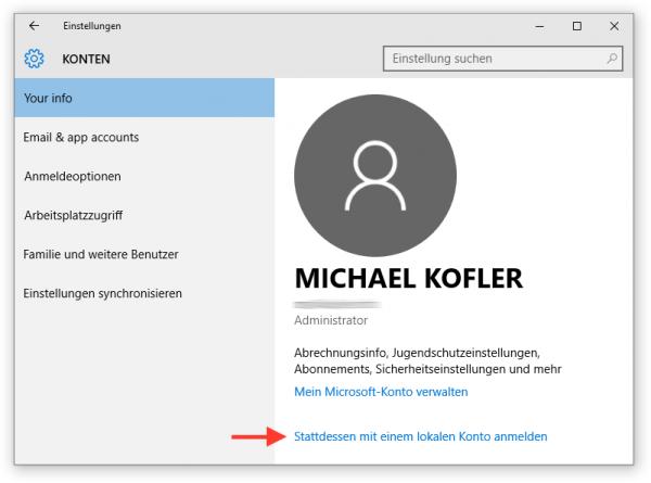 Lokales Passwort verwenden (anstelle das des Microsoft-Kontos)