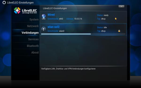 Das LibreELEC-Konfigurationprogramm mit dem LibreELEC-Logo